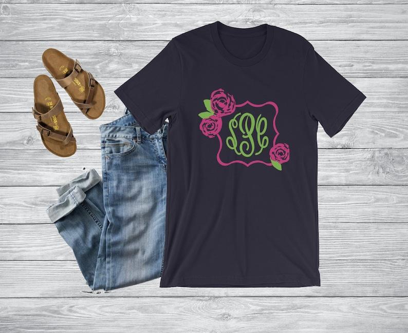Monogram Flower T-Shirt   personalized shirt  Monogram image 0