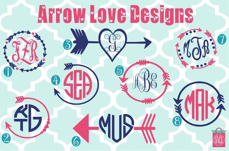 Monogrammed Arrow Vinyl Decals  Monogram Decal  Monogram image 0