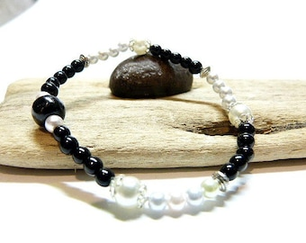 WOMEN bracelet, very thin and discreet classic style Black Onyx