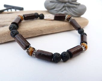 Men's bracelet or mixed lava stone, Tiger eye and wood