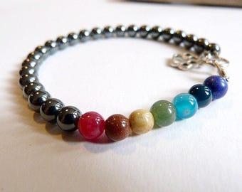 "Zen and ethnic bracelet ""the 7 chakras"" mixed hematite and gemstones."