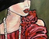 Lady in Paris, original painting, acrylic on canvas