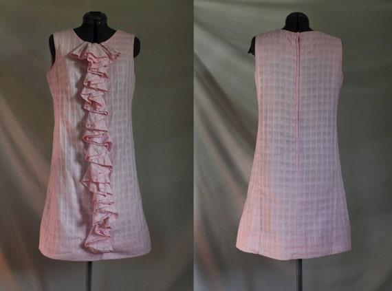 Ruffled Sundress//Pink Shift//Cotton//60s Vintage/