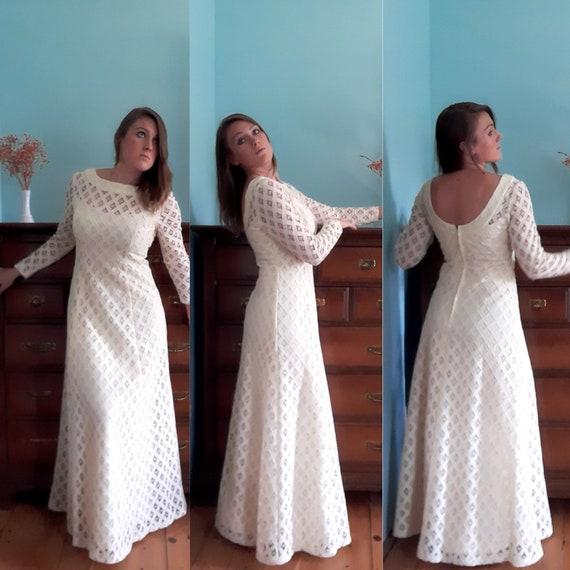 Vintage Cream Lace Gown