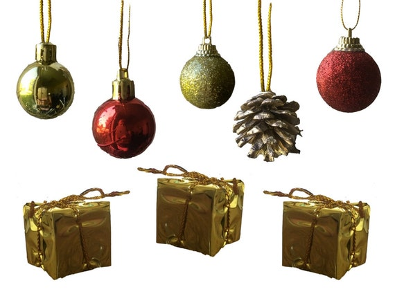 Bulk Christmas Ornaments.Mini Christmas Ornaments Bulk Set Of 96 Ornaments Red And Gold Mini Ball Ornaments Pine Cones And Presents Ea About 1 3547