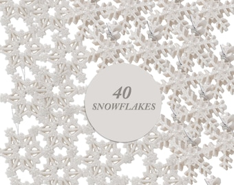 White Glittered Snowflake Ornaments - Set of 40 Bright White Glitter Hanging Snowflakes - Approximately 1 Inch Dia. - Christmas Crafts #2079
