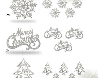 Silver Christmas Ornaments - Set of 16 Silver Glitter Ornaments - Silver Trees, Silver Snowflakes and Silver Merry Christmas Signs #3554