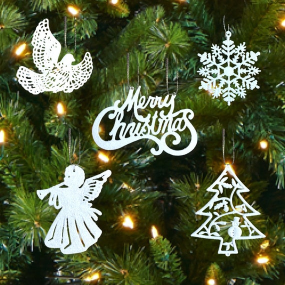 White Christmas Decorations Set Of 39 Sparkling Glittery Ornaments Trees Doves Angels Snowflakes Merry Christmas 3552 1