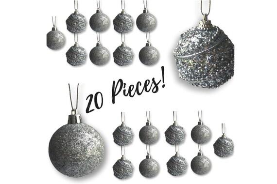 Christmas Ball Ornaments.Christmas Ball Ornaments 20 Silver Assorted Xmas Ornaments 2 Diam 5cm Shatterproof Ball Ornament Silver Christmas Decorations 3584