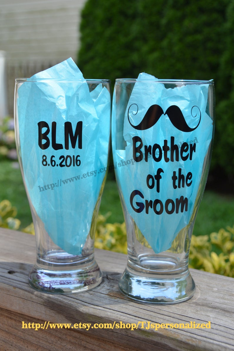 Engagement Toast Brother Father of the Groom Bride Party favor Best Man Bachelor Wedding Personalized 19 oz Pilsner Beer Glass