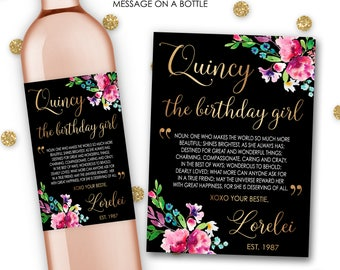 Custom Birthday Girl Wine Champagne Bottle Label Sticker 21st Birthday Dirty Thirty 40th 50th Best Friend Gift Her Party Celebration #Bday6