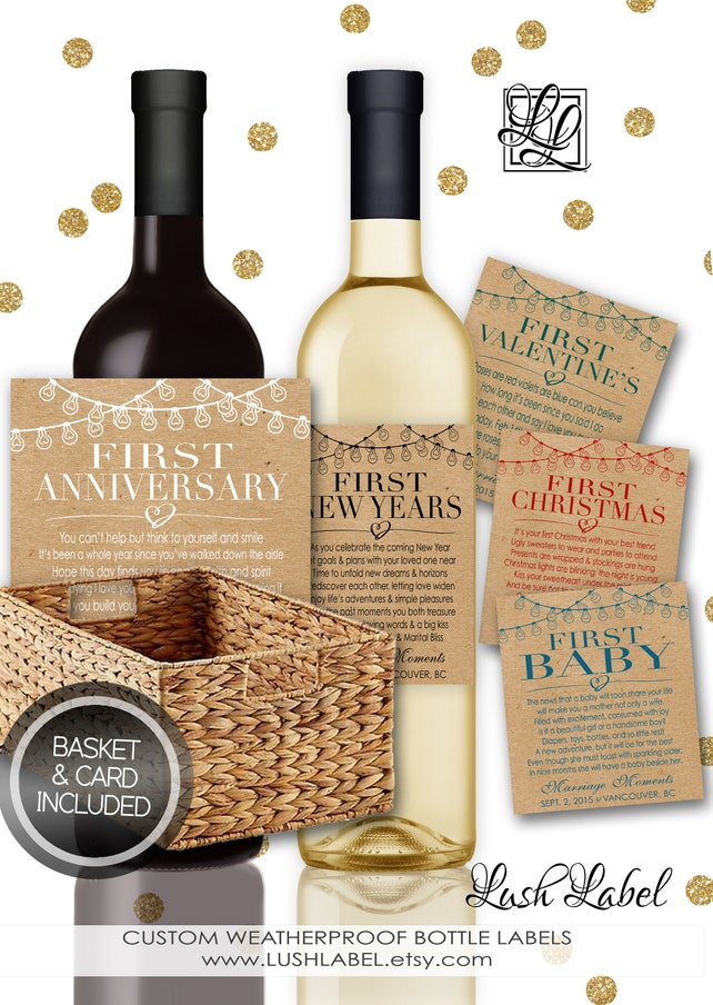 4289cf5d4b2 Bridal Marriage Firsts Milestones Gift Basket Box Card Wine Champagne  Bottle Labels Stickers Wedding Bridal Shower ...