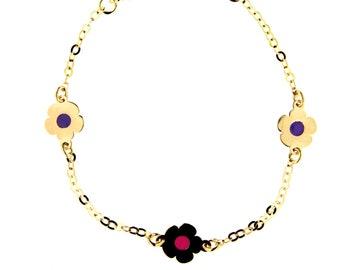 amalia 18K Yellow Gold Enamel Blue Star and Pink Flower Id Bracelet 5.5 inches