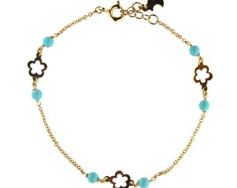 18KT Yellow Gold Dangling Enamel White Flower and 4 Coral Paste Beads Bracelet