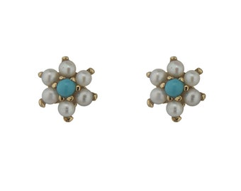 18K Solid Yellow Gold Real Turquoise Paste beads 5mm and Cultivated Pearl center flower covered screwbacks earrings