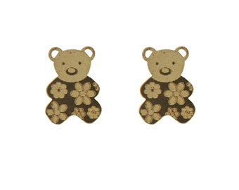 18K Yellow Gold Satin center open Teddy Bear Screwback Earrings