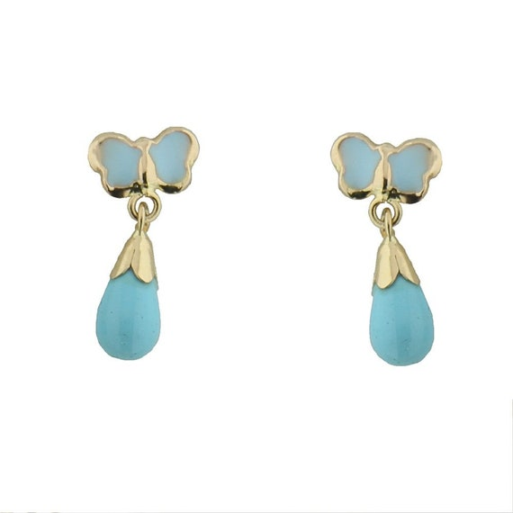 18K Yellow Gold Turquoise paste bead Stud Screwback Earring 3mm