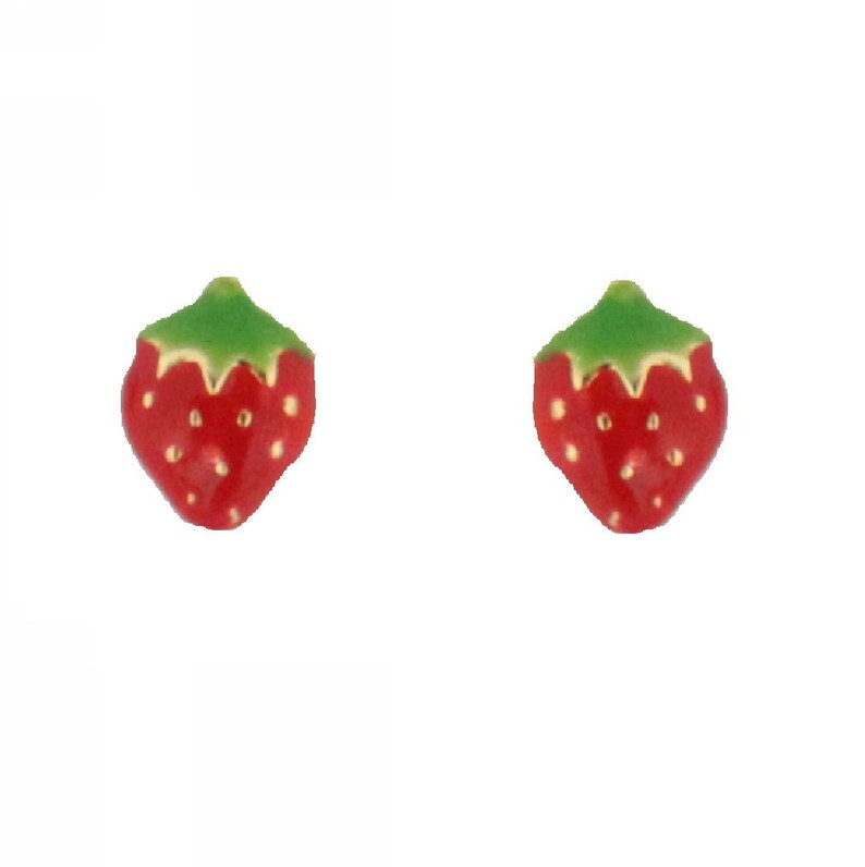18K Yellow Gold Strawberry Enamel Earrings with covered screwbacks