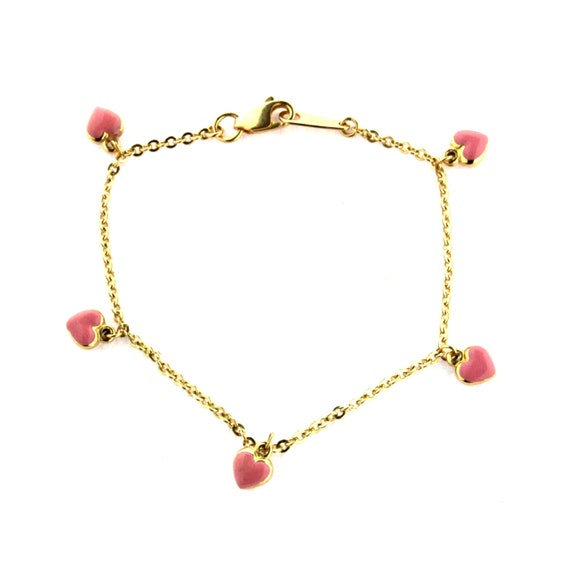 18KT Yellow Gold Red Enamel Hearts with Red Stones Bracelet 5.5 inches