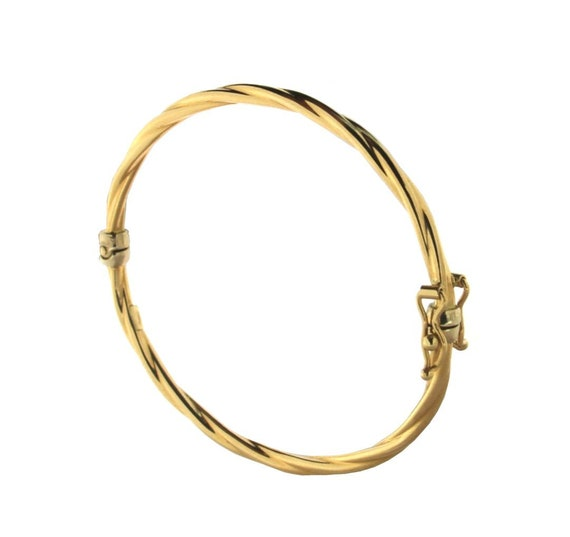 18K Yellow Gold Twist Oval Tube Hinge Baby Bangle Bracelet 5.50 inches