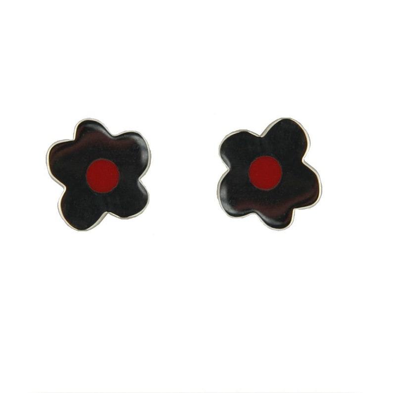 561d35b673341 Agatha Ruiz de la Prada Sterling Silver Red Enamel Flower post earrings  0.38 inch diameter For teenagers