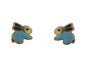 18K YG Rabbit Screwback Earrings