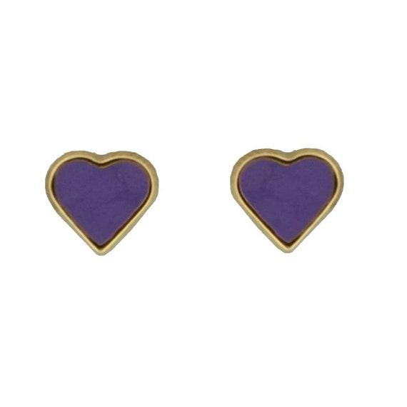5mm 18K Yellow Gold Lilac Enamel Heart Post Earrings