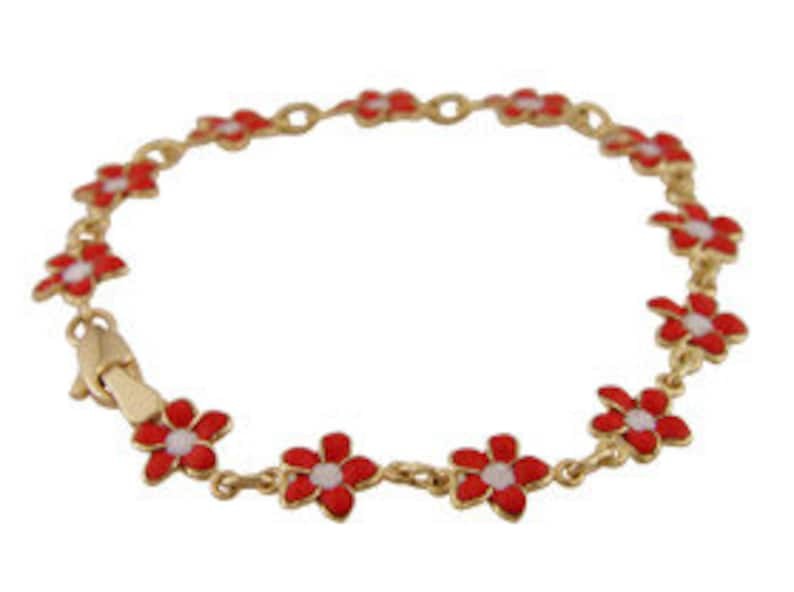 df99bcc8836d8 18K Yellow Gold Red Enamel Flower Bracelet