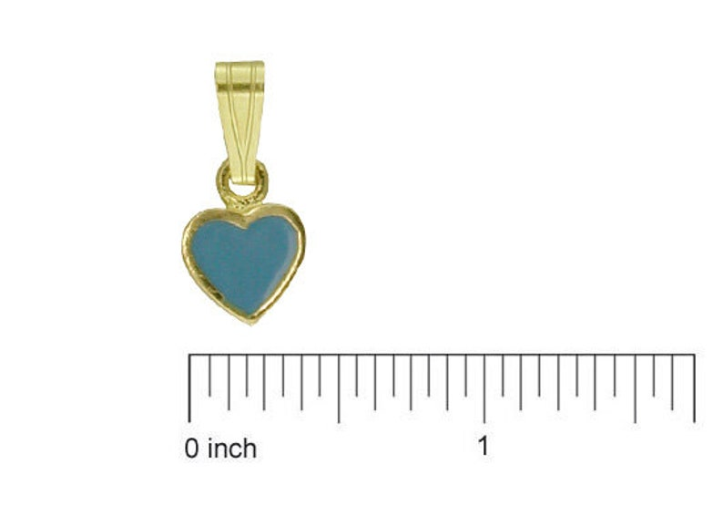 18K Yellow Gold Red Enamel Heart Charm 5mm//11mm with Bail