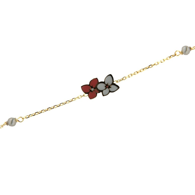 18K Solid Yellow Gold Center Pink and White Enamel Flowers with two 3 mm cultivated pearls Bracelet 5.50 inches