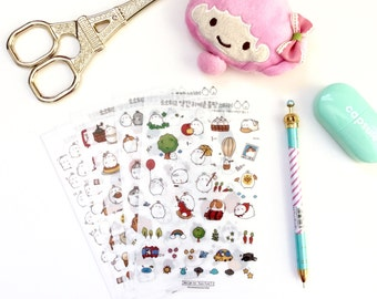 6 Sheets PVC Stickers. Cute Molang Design Daily Diary Transparent Deco Stickers. Filofax KIKKI.K Erin Condren Life Planner decorations.