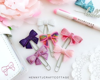 Planner Clip : Sequin Bow  PaperClip | Page Clip | Bookmark | Page Marker . Planner accessories supply.