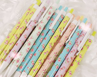 Pastel ROSE FLORAL Gel Pens - Fancy Soft Bright Rainbow   Planner Pens / Teacher Gift / Life Planner Accessories Stationery
