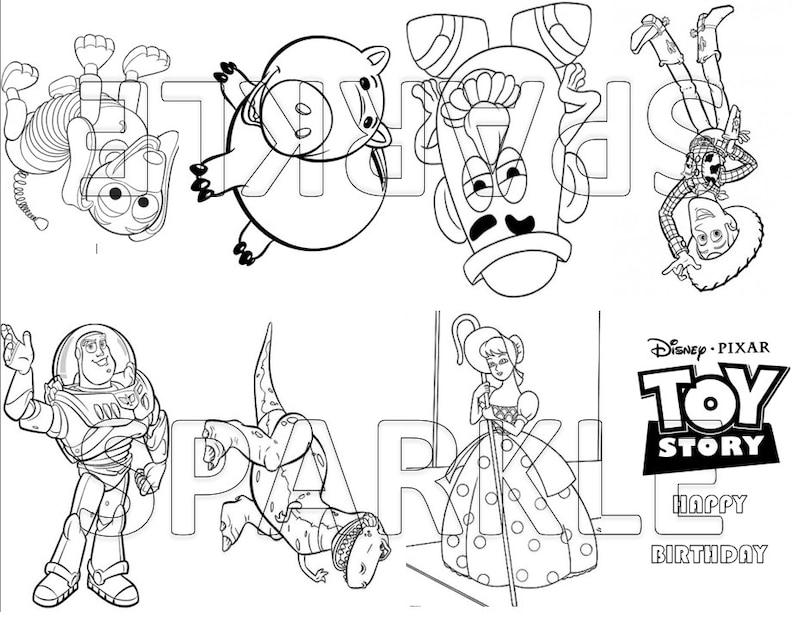 Toy Story Mini Coloring Book Goodie Bag Favor Party Bag Favor Coloring Page Birthday Party Favor Digital Download Printable A101