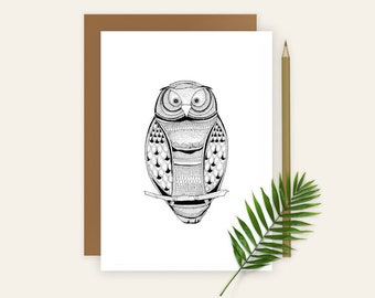 Owl Greeting Card, Owl Card, Owl Illustration, Blank Card, Illustrated Card, Blank Note Card, Original Cards, A6 Animal Card, Pen and Ink