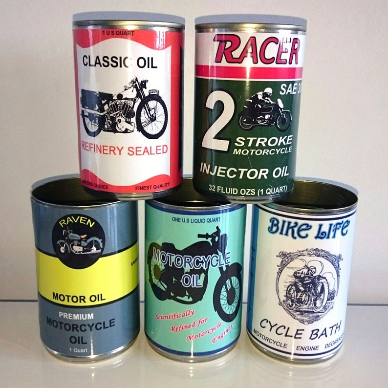 Job lot 5 reproduction vintage classic motorcycle oil cans tins display  props gas station collectible rustic or normal