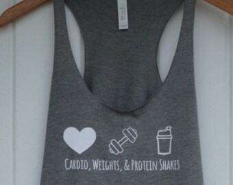 Cardio Weights and Protein Shakes Womens racerback workout tank gym motivation inspiration shirt