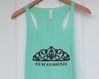 Gym Princess Womens racerback workout tank top gym motivation inspiration shirt