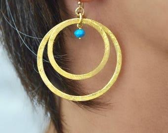 Boho earrings gold circles earrings turquoise earrings hoops earrings turquoise beads personalized earrings