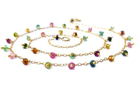 d54f99eb729f Regenbogen Halskette gold Turmalin Wassermelone Turmalin Halskette rosa  Turmalin Halskette Hochzeit Halskette Anhänger edelsteinhalskette
