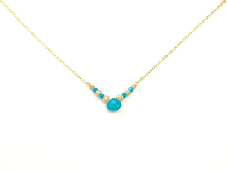 Minimalist turquoise necklace gold beads turquoise boho necklace December birthstone necklace dainty necklace