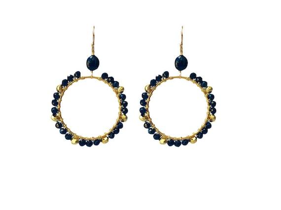 Black Spinel Hoop Earrings Gold Black Tourmaline Beads Boho Etsy
