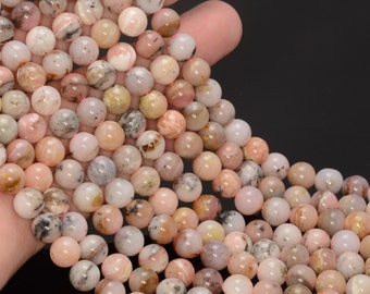 """8MM PINK OPAL GEMSTONE PINK FLAT ROUND CIRCLE COIN BUTTON 8MM LOOSE BEADS 7.5/"""""""