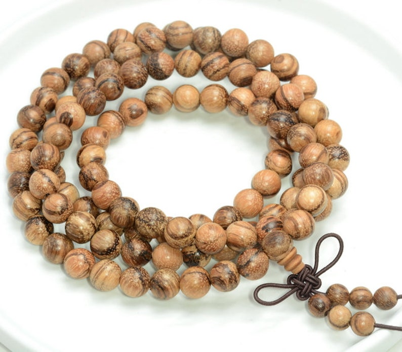 108pcs New Prayer Nature Mala 108 Beads Jewelry 6mm Sandalwood Bracelet Buddha