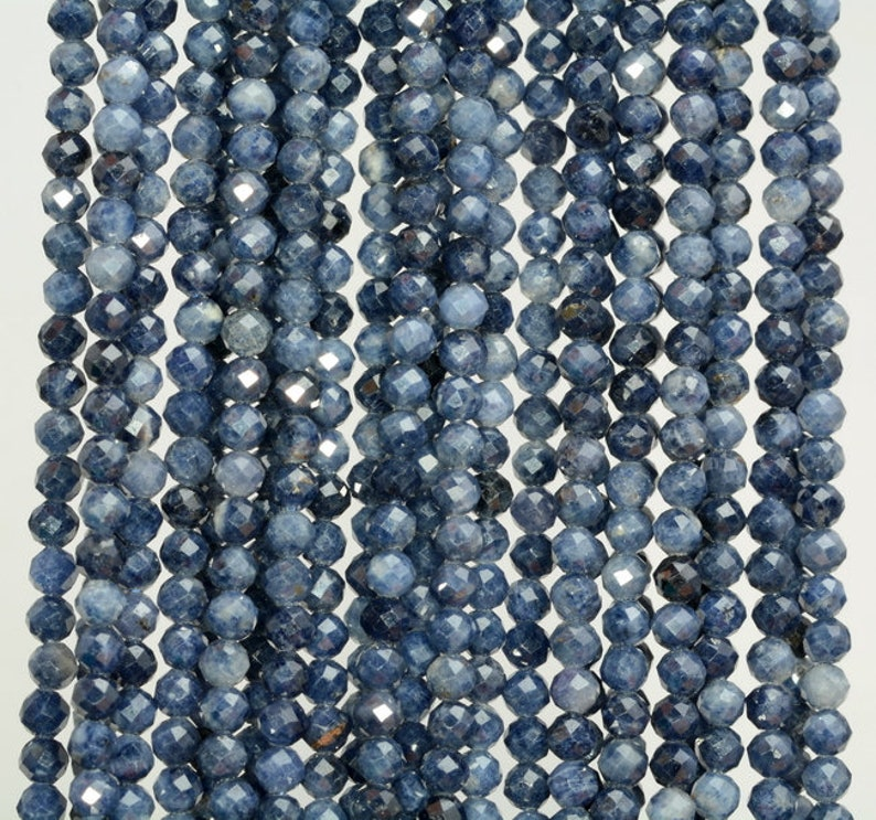 80010169-A194 2MM Blue Sapphire Gemstone Dark Blue Micro Faceted Round Grade Aaa Beads 15.5inch BULK LOT 1,6,12,24 and 48