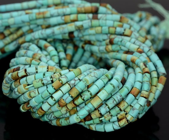 """3MM TURQUOISE GEMSTONE BROWN RED ROUND TUBE HEISHI LOOSE BEADS 12.5/"""""""