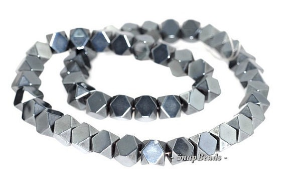 8MM NOIR BLACK HEMATITE GEMSTONE BLACK BICONE HOURGLASS 8X8MM LOOSE BEADS 16/""