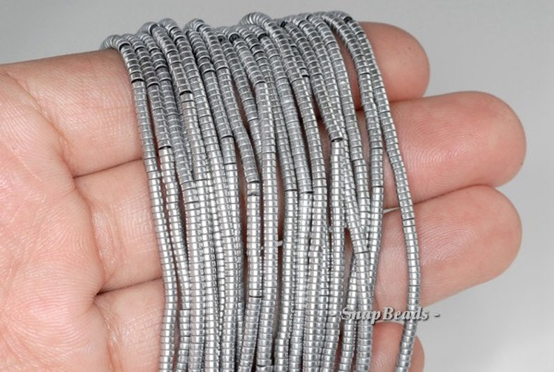 2x1mm Silver Hematite Gemstone Heishi Rondelle Slice 2x1mm Loose Beads 16 inch Full Strand LOT 1,2,6,12 and 50 90185682-838