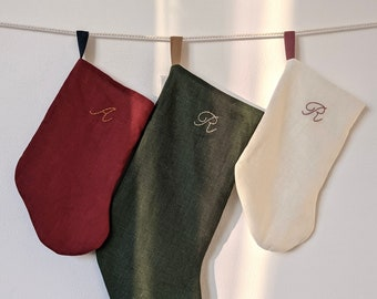 Hand Embroidered, Mini/Pet/Baby Size, Personalized Initial Linen Christmas Stocking, Handmade in Los Angeles