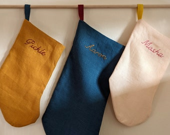 Hand Embroidered — Mini/Pet/Baby Size — 7 Colors — Personalized Linen Holiday Stocking — Handmade in Los Angeles